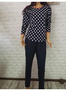 Дамска пижама с дълго долнище и дълъг ръкав Иватекс 3367 на точки в тъмно синьо