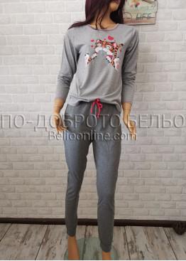 Дамска пижама с дълго долнище и дълъг ръкав Иватекс 3374 в сив цвят
