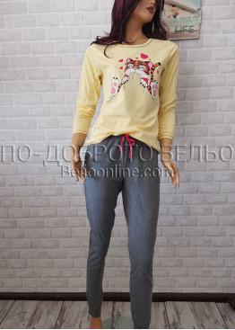 Дамска пижама с дълго долнище и дълъг ръкав Иватекс 3374 в жълт цвят