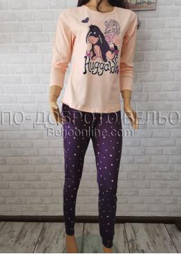 Дамска пижама с дълго долнище и дълъг ръкав Иватекс 3377 в цвят банан