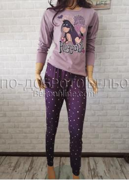 Дамска пижама с дълго долнище и дълъг ръкав Иватекс 3377 в светло лилав цвят