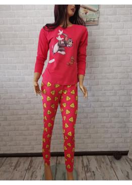 Дамска пижама с дълго долнище и дълъг ръкав Иватекс 3378 с Том и Джери в червено