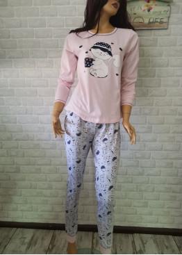 Дамска пижама с дълго долнище и дълъг ръкав Иватекс 3391 в розов цвят