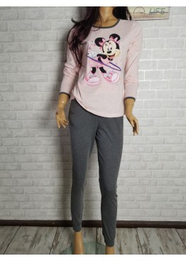 Дамска пижама с дълго долнище и дълъг ръкав Иватекс 3393 с Мини Маус в розово
