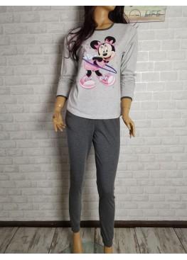 Дамска пижама с дълго долнище и дълъг ръкав Иватекс 3393 с Мини Маус в сиво