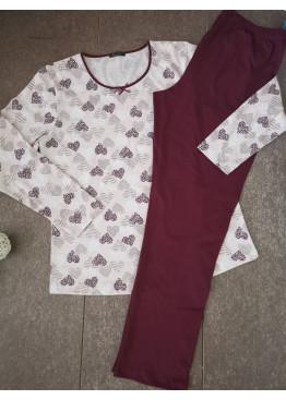 Дамска пижама с дълго долнище и дълъг ръкав Иватекс 3398 на сърца