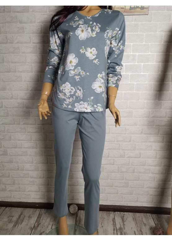 Дамска пижама с дълго долнище и дълъг ръкав Иватекс 3406 сив