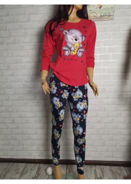 Дамска пижама с дълго долнище и дълъг ръкав Иватекс 3426 червен