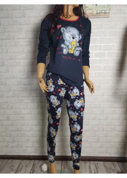 Дамска пижама с дълго долнище и дълъг ръкав Иватекс 3426 син
