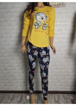 Дамска пижама с дълго долнище и дълъг ръкав Иватекс 3426 жълт
