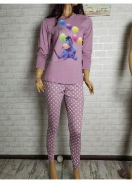 Дамска пижама с дълго долнище и дълъг ръкав Иватекс 3433