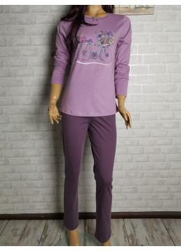 Дамска пижама с дълго долнище и дълъг ръкав Иватекс 3439 лилав