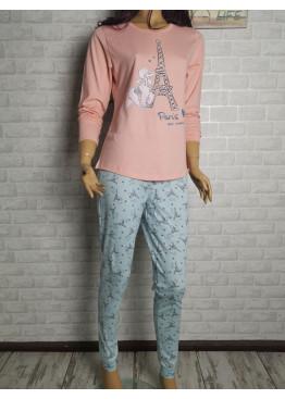 Дамска пижама с дълго долнище и дълъг ръкав Иватекс 3440 праскова