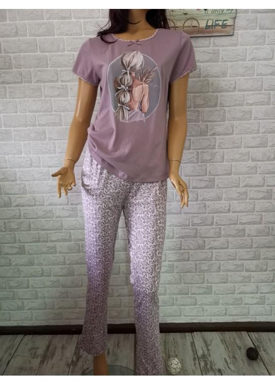Дамска пижама с дълго долнище и къс ръкав Иватекс 3202