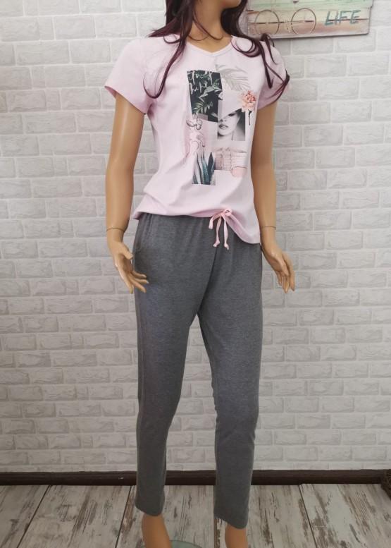 Дамска пижама с дълго долнище и къс ръкав Иватекс 3356
