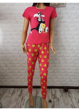 Дамска пижама с дълго долнище и къс ръкав Иватекс 3364 в розов цвят