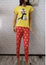 Дамска пижама с дълго долнище и къс ръкав Иватекс 3364 в жълт цвят