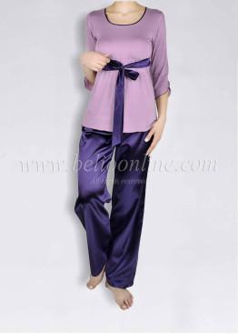 Дамска пижама с дълго сатенено долнище 6021
