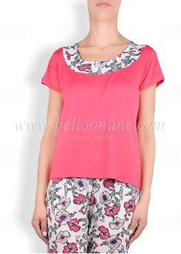 Дамска  пижама с долнище на цветя 6064