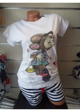 Дамска пижама с къс ръкав Affect влюбена маймунка