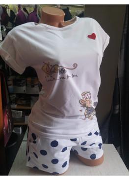Дамска пижама с къс ръкав Affect влюбени маймунки