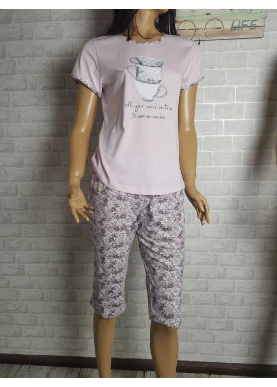 Дамска пижама с къс ръкав и 3/4 долнище Иватекс 1466 в светла пепел