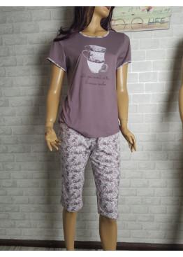 Дамска пижама с къс ръкав и 3/4 долнище Иватекс 1466 в тъмна пепел