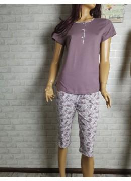 Дамска пижама с къс ръкав и 3/4 долнище Иватекс 1467 в тъмна пепел