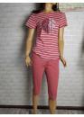 Дамска пижама с къс ръкав и 3/4 долнище Иватекс 1468 в червено
