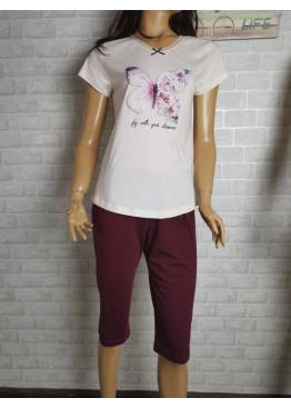 Дамска пижама с къс ръкав и 3/4 долнище Иватекс 3466 в бордо