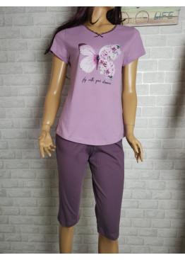 Дамска пижама с къс ръкав и 3/4 долнище Иватекс 3466 в лилаво