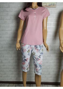 Дамска пижама с къс ръкав и 3/4 долнище Иватекс 3471 в розово