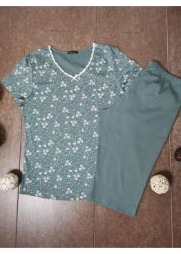 Дамска пижама с къс ръкав и 3/4 долнище Иватекс 3477