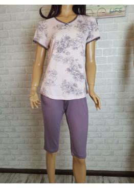 Дамска пижама с къс ръкав и 3/4 долнище Иватекс 3481