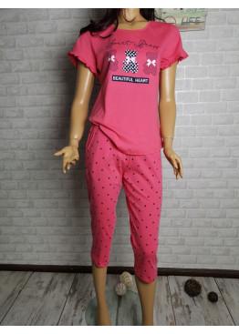 Дамска пижама с къс ръкав и 7/8 долнище Иватекс 3315 в циклама