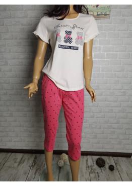 Дамска пижама с къс ръкав и 7/8 долнище Иватекс 3315 в екрю