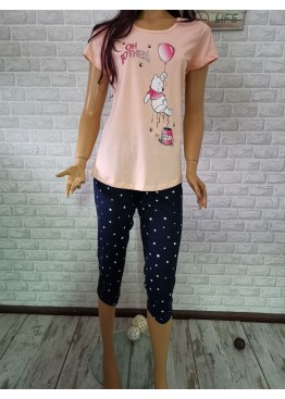 Дамска пижама с къс ръкав и 7/8 долнище Иватекс 3315 в праскова