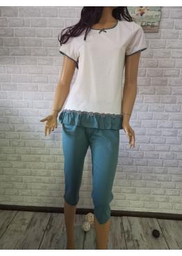 Дамска пижама с къс ръкав и 7/8 долнище Иватекс 3315 в шампанско