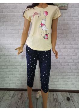 Дамска пижама с къс ръкав и 7/8 долнище Иватекс 3315 в жълто