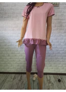 Дамска пижама с къс ръкав и 7/8 долнище Иватекс 3316 в пепел от рози
