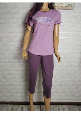 Дамска пижама с къс ръкав и 7/8 долнище Иватекс 3442 в лилаво