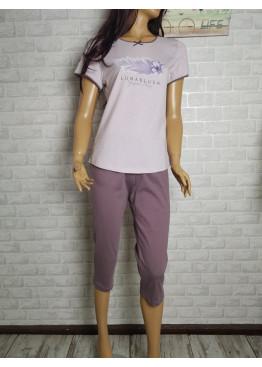 Дамска пижама с къс ръкав и 7/8 долнище Иватекс 3442 в светло лилаво