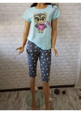 Дамска пижама с къс ръкав и 7/8 долнище Иватекс 8705 с бухал