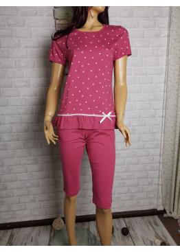 Дамска пижама с къс ръкав и 7/8 долнище Иватекс 8706 на точки