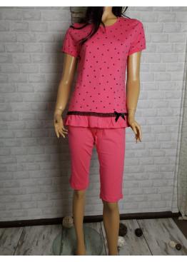 Дамска пижама с къс ръкав и 7/8 долнище Иватекс 8707 на точки