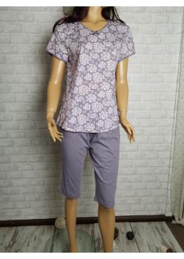 Дамска пижама с къс ръкав и 7/8 долнище Иватекс 8709 на цветя