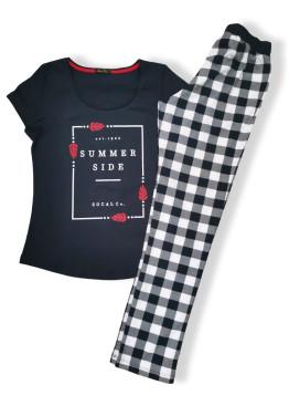 Дамска пижама с къс ръкав и дълго долище Иватекс 7606