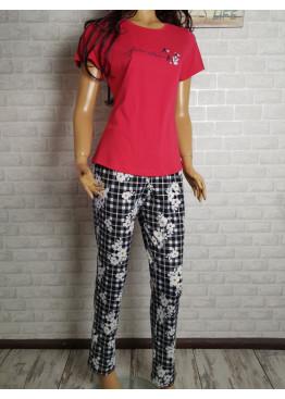 Дамска пижама с къс ръкав и дълго долнище Иватекс 3441 в чевено