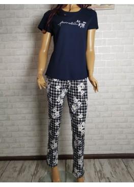 Дамска пижама с къс ръкав и дълго долнище Иватекс 3441 в синьо