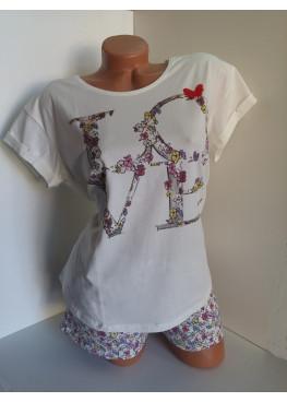Дамска пижама с къс ръкав и къси панталонки Affect Love в екрю